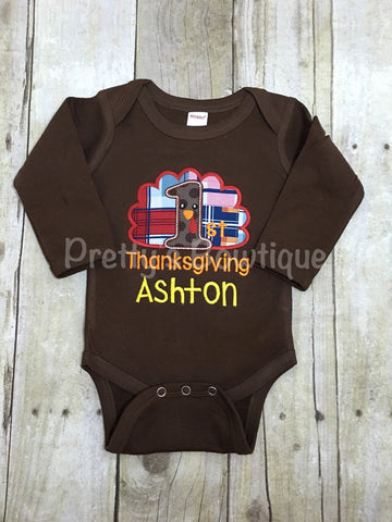 First Thanksgiving Boy Shirt or Baby Bodysuit Personalized with Name in Sizes Newborn to Youth XL - Pretty's Bowtique