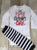 Baby Boys 1st Valentine's Day shirt or bodysuit and legwarmers - First Valentine's Day shirt or bodysuit -- Valentines boys shirt or bodysui - Pretty's Bowtique