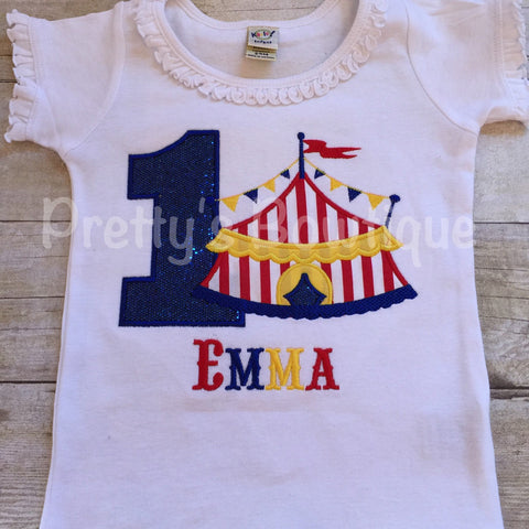 Girls Circus Birthday Shirt-- Circus Under the BIG tent shirt with AGE.  Perfect for a trip to the circus or a Circus party - Pretty's Bowtique