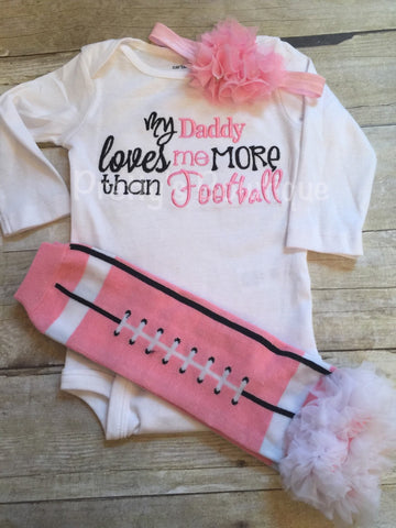 Girls Daddy loves me more than football bodysuit, legwarmers and headband -- Football outfit, football legwarmer, clothing gift - Pretty's Bowtique