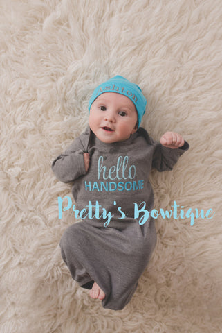 Newborn boy coming home outfit -- Hello Handsome baby boy gown -- Personalized Beanie and gown -- Baby boy coming home outfit - Pretty's Bowtique