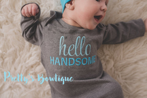81b74f176fa4b ... Newborn boy coming home outfit -- Hello Handsome baby boy gown --  Personalized Beanie ...