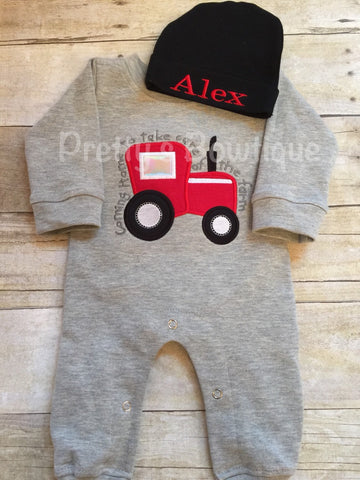 Baby Boy Coming Home Outfit -- Coming home to take care of the farm Romper with Hat with Embroidered Name - Pretty's Bowtique
