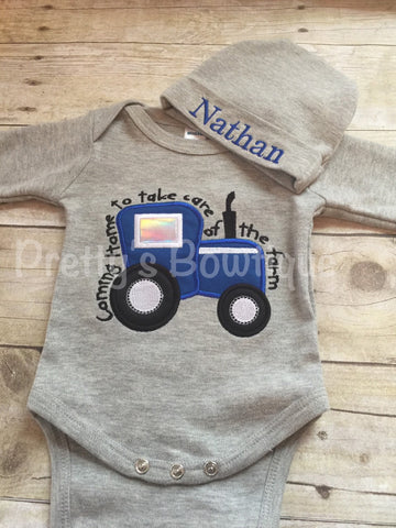 Baby Boy Coming Home Outfit -- Coming home to take care of the farm bodysuit with Hat with Embroidered name - Pretty's Bowtique