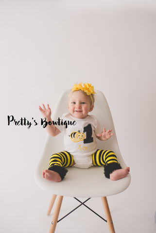 Girls Bumble bee Birthday outfit -- Bodysuit or t-shirt legwarmers and headband can do any age - Pretty's Bowtique