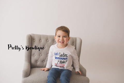 Boy shirt Hey Ladies want a ride? in my little red wagon bodysuit or shirt -- funny baby shirt or bodysuit - Pretty's Bowtique