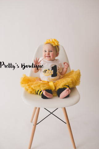 Girls Bumble bee Birthday outfit -- Bodysuit or t-shirt legwarmers, petti skirt and headband can do any age - Pretty's Bowtique