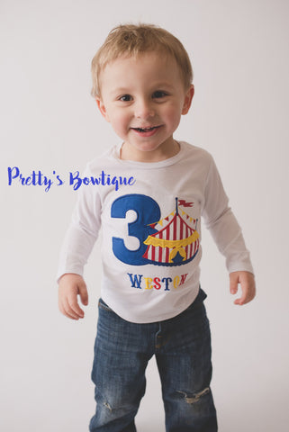 Boy Circus Under the big tent shirt.  Perfect for a trip to the circus or a Circus party shirt - Pretty's Bowtique