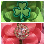 St. Patrick's  Bow -- Saint Patricks Bow -- St. Patricks Day Headband -- Pink, green, white - Pretty's Bowtique