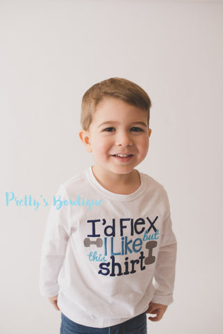 Boys I'd flex but I like this shirt -- Boys T-shirt -- Boys bodysuit builder shirt -- Little boys funny t shirt - Pretty's Bowtique