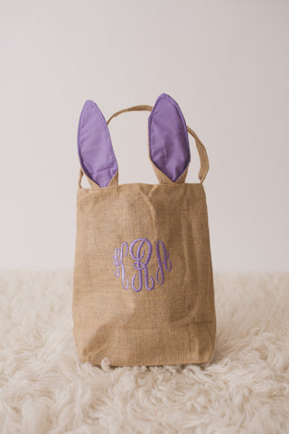 Burlap Bunny Basket-- Personalized Easter Basket -- Bunny Ears  Bucket  -- Children's Easter Bucket -- Easter Pail personalized - Pretty's Bowtique