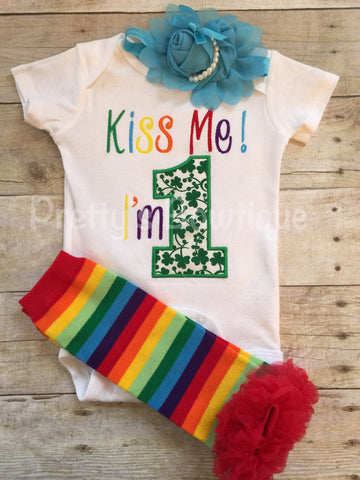 1st Birthday St. Patrick's shirt or bodysuit, headband  and legwamers -- Kiss me I'm 1 St. Patrick's Day Birthday set with legwarmers - Pretty's Bowtique