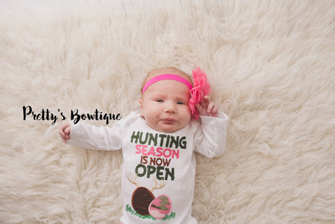 Hunting Season is now open-- Girl Hunting Camo Outifit - girls camo bodysuit or shirt -- Girls Easter outfit - Pretty's Bowtique