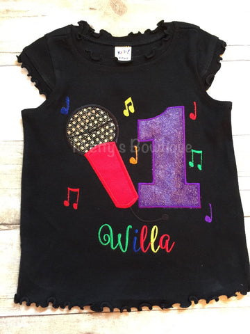 Girls Music Birthday shirt -- microphone birthday shirt -- Girls music party shirt -- Music Birthday Shirt any age or colors - Pretty's Bowtique