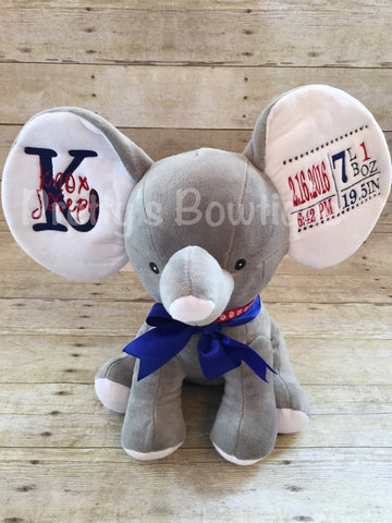 Stuffed Animal Birth Announcement – Cute Elephant with Name and Birth Stats Embroidered on Ears – 8 Colors Available - Pretty's Bowtique