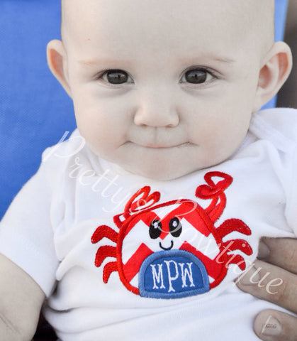 Boys Summer Beach shirt-- Boys Crab shirt-- Monogram Boys Shirt -- Monogram Boys summer crab shirt --Crab with Monogram perfect summer shirt - Pretty's Bowtique