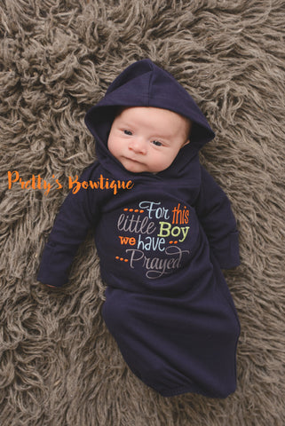 Newborn boy coming home outfit --For this Little boy we have Prayed gown with hoodie hat - Pretty's Bowtique