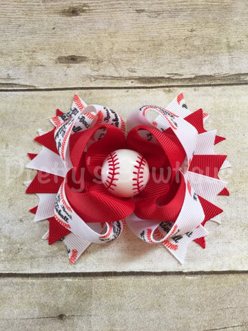 All about that baseball bow  -- Baseball Bow -- all about that base Headband -- girls baseball bow  -- Girls OTT bow - Pretty's Bowtique