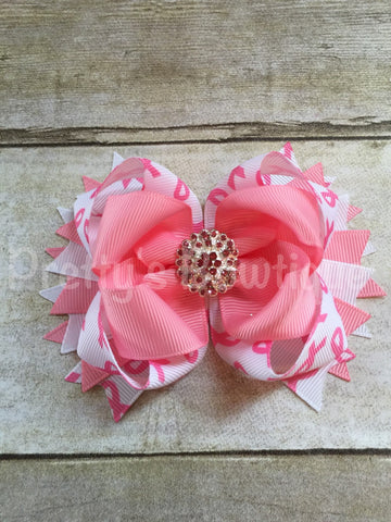 Breast cancer awareness  bow  -- Cancer Bow -- pink ribbon -- girls save the tattas bow  -- Girls OTT bow - Pretty's Bowtique