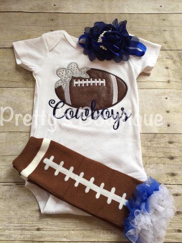 Girl Cowboys football outfit-- Girls Football Shirt-- Ruffled football leg warmers and headband -- Any team or colors -- Girls Football - Pretty's Bowtique