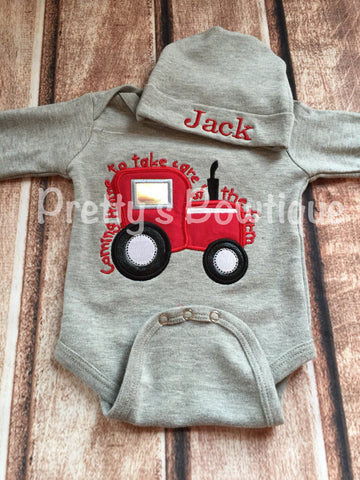 Baby Boy Coming Home Outfit -- Coming home to take care of the farm bodysuit with Hat with Embroidered name -- red tractor - Pretty's Bowtique