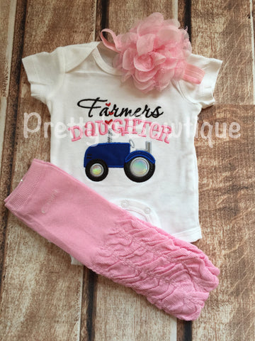Farmer's Daughter bodysuit or t shirt, headband, and legwarmers.  Can customize wording and colors -- little girls farm outfit -- blue - Pretty's Bowtique