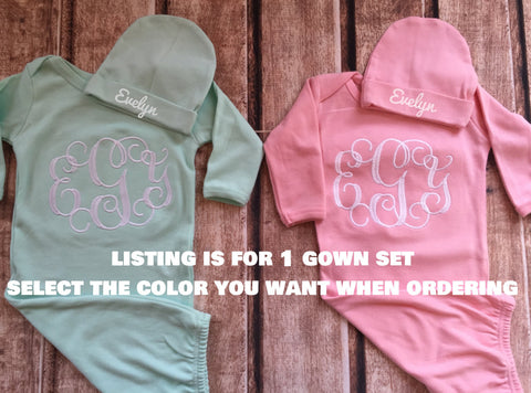 915b817f7d4d2 Newborn coming home outfit monogram gown -- Monogramed newborn gown an –  Pretty's Bowtique