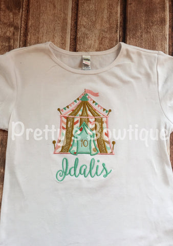 Girls Circus Birthday Shirt-- Circus Under the BIG tent shirt can add age. Perfect for a trip to the circus or a Circus party - Pretty's Bowtique