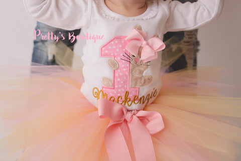 First Birthday Bodysuit or Shirt -- Bunny Birthday outfit- Easter Birthday-- Spring Birthday shirt -- 1st Birthday Shirt Bunny-- tutu--bow - Pretty's Bowtique