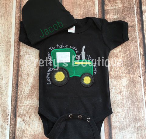 Baby Boy Coming Home Outfit -- Coming home to take care of the farm bodysuit with Hat with Embroidered Name--Black - Pretty's Bowtique