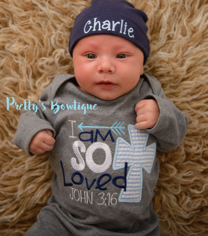 b58d1926d6164 Newborn boy coming home outfit I'm so loved John 3:16 gown and hat -- –  Pretty's Bowtique