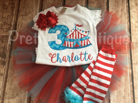 Girls Circus Birthday outfit -- Circus birthday outfit -- Shirt or One piece, legwarmers, headband and matching tutu - Pretty's Bowtique