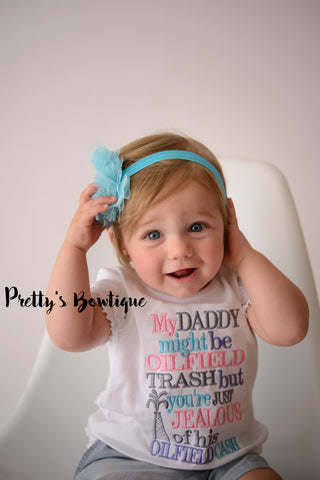 My Daddy, Daddys Girl, Oilfield Daddy Bodysuit or Tshirt with Matching Flower Headband – Sizes Newborn to Youth XL - Pretty's Bowtique