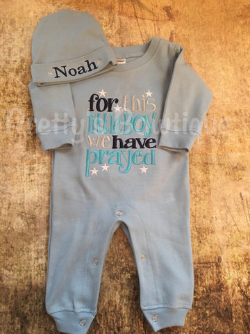 Newborn Baby Romper Outfit -- Grey Infant Boy Romper -- For This Little Boy I or We Have Prayed - Baby Shower Gift -Personalized Hat - Pretty's Bowtique