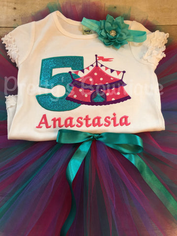 Girls Circus Birthday outfit -- Circus birthday outfit -- Shirt or One piece, headband and matching tutu - Pretty's Bowtique