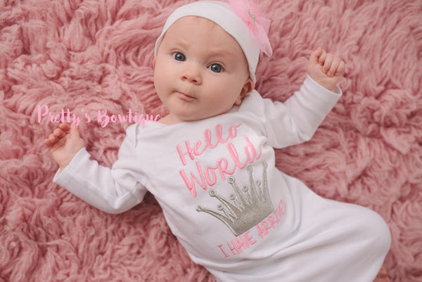 f1ed7403eb00 Newborn baby girl coming home outfit -Hello world i have arrived ...