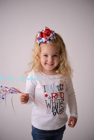 Girls 4th of july -- I love the red white and blue bodysuit/Shirt -- Fourth of July shirt -- 4th of July Shirt-- Fireworks shirt - Pretty's Bowtique