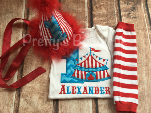 Boy Circus Birthday outfit -- Circus birthday outfit -- Shirt or One piece/legwarmers/party hat-- Boys Circus outfit-- Boys BirthdayAsk a qu