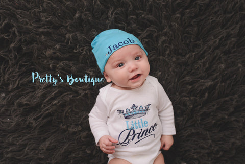 Baby Boy coming home outfit Little Prince Baby Boy bodysuit and cap-- Outfit Embroidered Bodysuit / T Shirt for Newborn & Toddler - Pretty's Bowtique