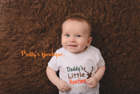 Daddy's Little hunting buddy shirt/bodysuit camo--deer hunting-little hunter-- Boys hunting shirt-- Camo Boys -- Hunting shirt -- Baby boy - Pretty's Bowtique