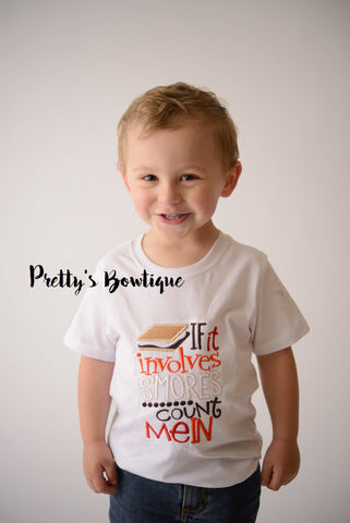If it Involves S'mores Count Me In - S'Mores T- Shirt - Summer Camp - Camping Shirt - Boys S'Mores Shirt - Boys Smores Shirt - Pretty's Bowtique