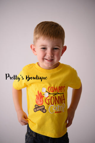 Campers gonna camp- Camper T- Shirt - Summer Camp - Camping Shirt - Boys Camping Shirt - Boys Campfire Shirt - Pretty's Bowtique