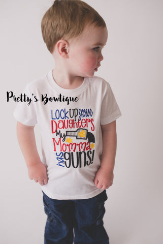 Lock up your daughters my momma has guns- Boys T- Shirt - Baby boy bodysuit- Toddler Shirt - Boys shirt lock up your daughters - Pretty's Bowtique