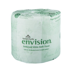 envision® Toilet Tissue White 1-Ply Standard Size Cored Roll 550 Sheets 4 X 4.05 Inch (case)