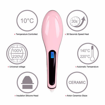 Temperature Control Paddle Brush Hair Straightener