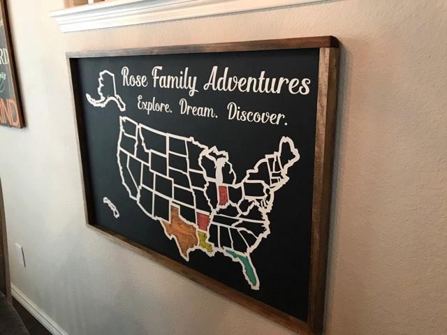 Personalized Usa Map.Personalized Usa Chalkboard Travel Tracker Map With Family Name