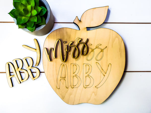 DIY Teacher Gifts | DIY Teacher Apple Sign | DIY Teacher Gifts Thank You | DIY Teacher Appreciation Gift | Teacher Gifts Personalized Sign