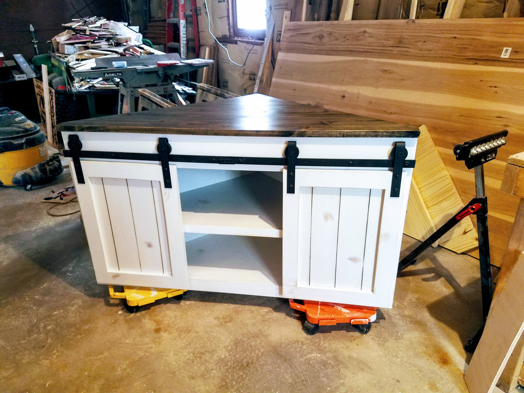 Custom Built Sliding Door Corner TV Stand