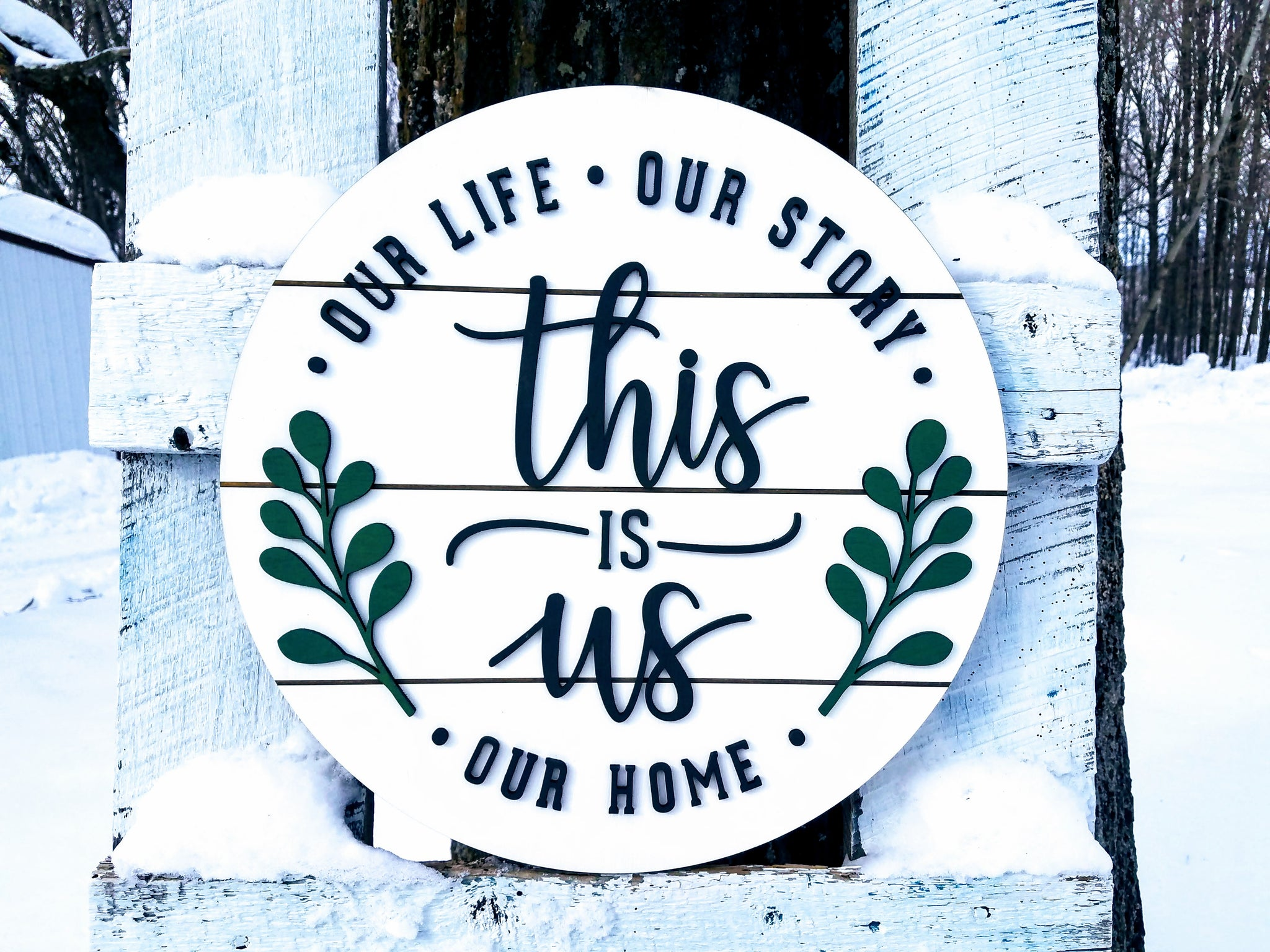 This is Us Round Shiplap Sign | Our Life Our Story Our Home | Raised Lettering Farmhouse Sign with Shiplap