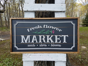 Flower Market Farmhouse Sign | Raised Lettering Farmhouse Sign with Shiplap